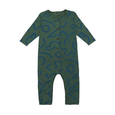 Kids Bobo Choses Curved Lines All Over Overall - Green