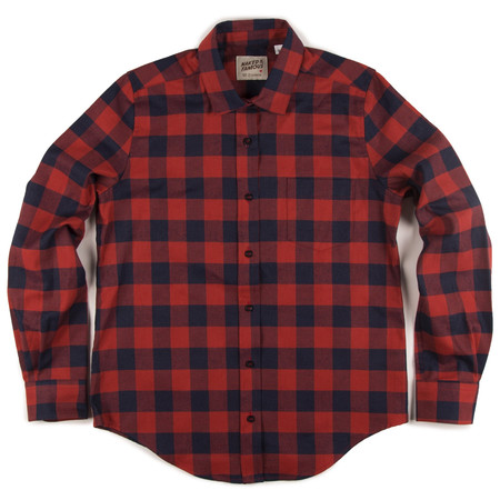 NAKED AND FAMOUS RED BUFFALO CHECK BLOUSE