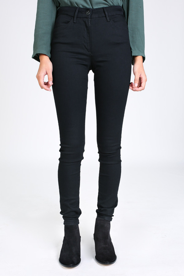 3x1 Channel seam high rise skinny in black