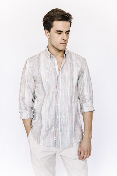 Frank and Eileen Linen Button Down - Multicolored Stripe