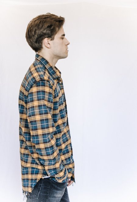 R13 Plaid Frayed Flannel Button Down Shirt - Yellow/Blue
