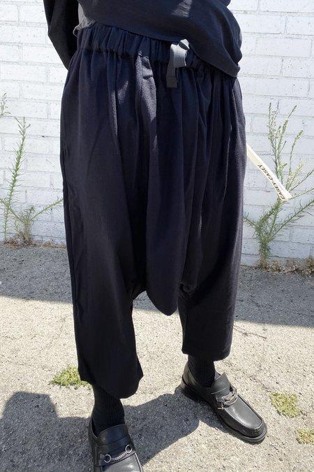 Casey Casey Wool Drawstring Pleated H Pant - Dark Navy