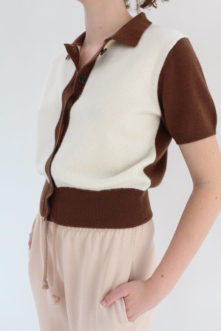 Beklina Fern Sweater Blouse - Ivory/Chocolate