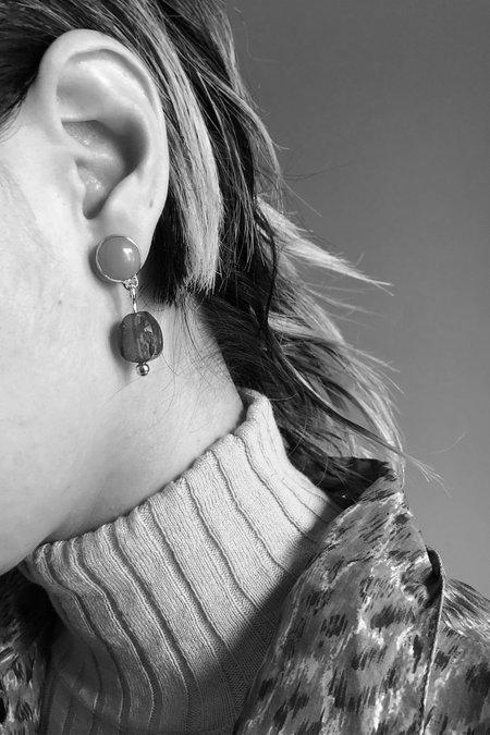 Ora-C Olivine Jade Earrings with Amber Bead