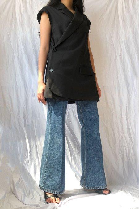 W A N T S Asymmetrical Padded Shoulder Vest - Black
