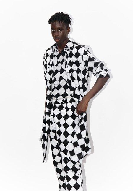 Studio One Eighty Nine Crossroads Cotton Hand-Batik Regular Collar Kneelength Shirt - Black/White