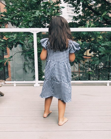 Kids Petit Mioche Organic Picknick Dress w/ Ruffle Sleeves