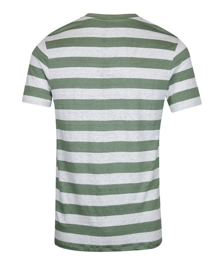 J Lindeberg Coma Clean Linen Stripe T-Shirt - Green
