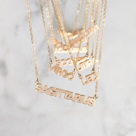 Thatch Zodiac Script Necklace - Gold