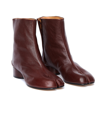 Maison Margiela Leather Tabi Boots - Burgundy