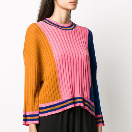 Henrik Vibskov Tricolor Long Sleeve Knit Jumper - Gold/Pink/Blue