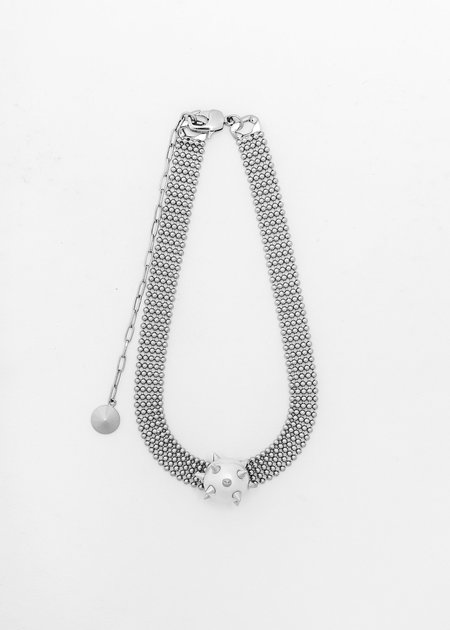 SANN STELLER Studded Pearl Necklace - Silver