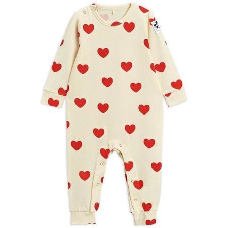 Kids Mini Rodini Hearts Baby Jumpsuit - Off White