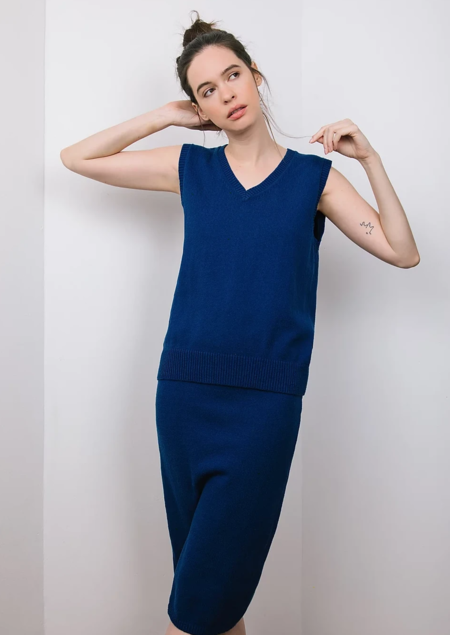 Leya Knit Pencil Skirt - Navy