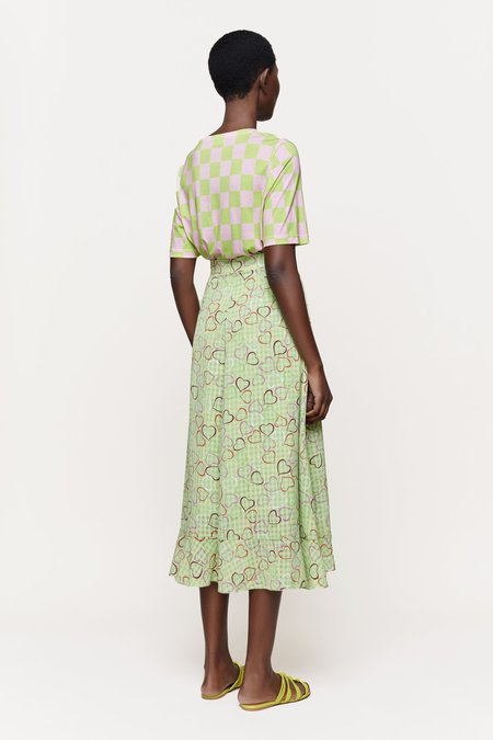 Stine Goya Leonie Tee - Checkerboard Green