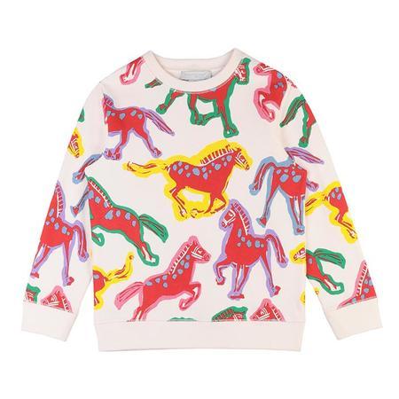 Kids Stella McCartney Child With All Over Horses Print Sweatsuit  -  Cream