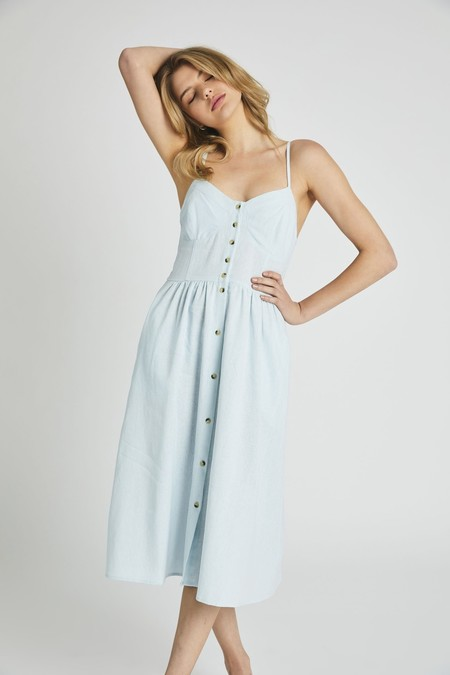 Eve Linen Dress - Pale Sky
