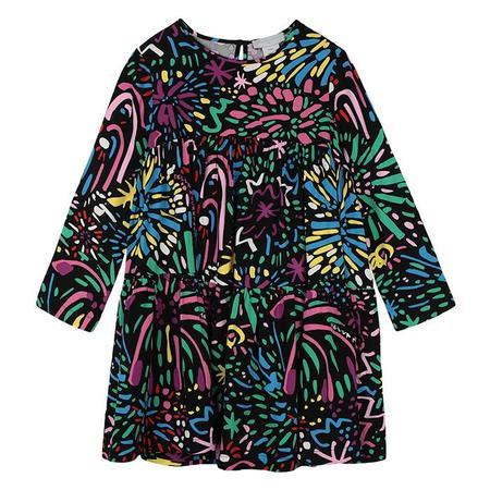 Kids Stella McCartney Child Dress With Fireworks Print - Black