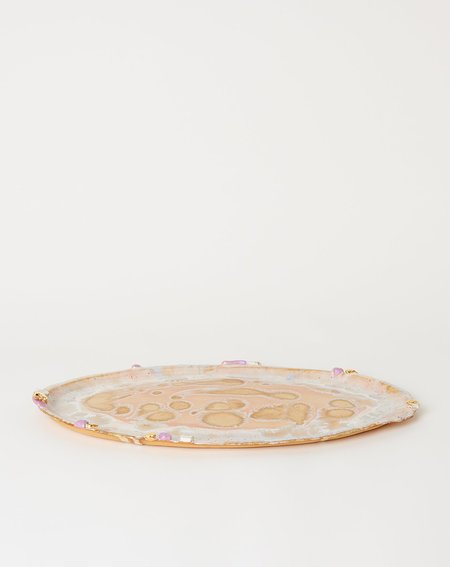Minh Singer X-Large Ambrosia Oval Platter with Lilac Crust - Beach