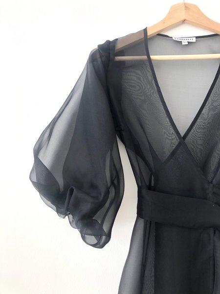 Kamperett Loretta Silk Organza Midi Dress - Black