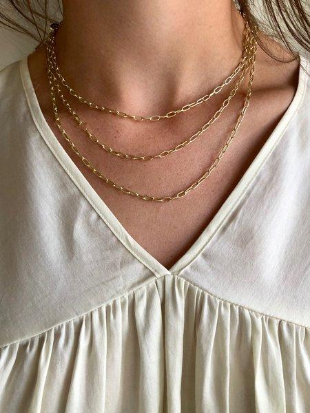 Machete Petite Oval Link Necklace - 14k Gold