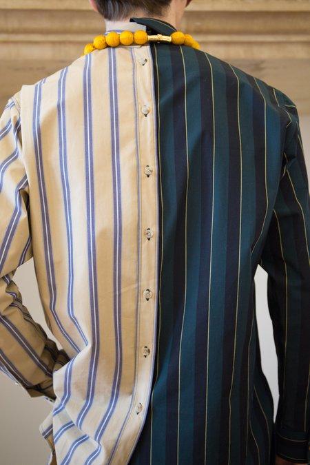 Lanvin Asymmetric Shirt - Dark Green/Camel Stripe
