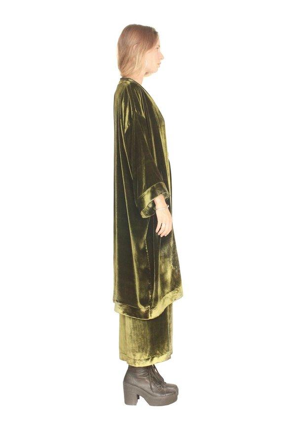 Strathcona Silk Velvet Deep Green Culotte Pant