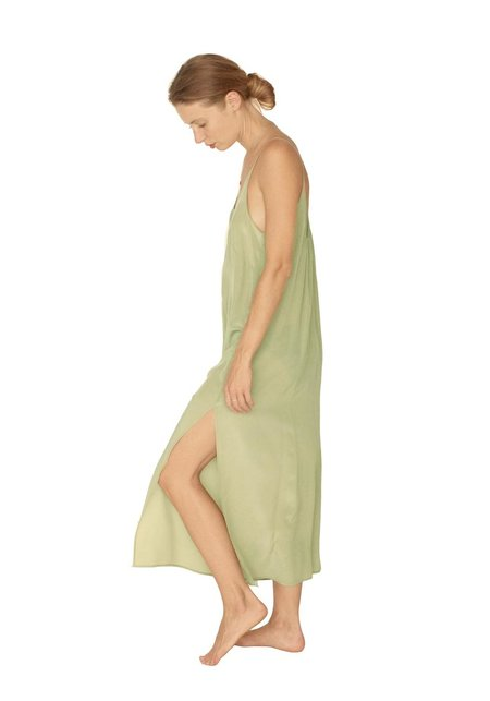 Strathcona Light Moss Green Silk Slip Dress