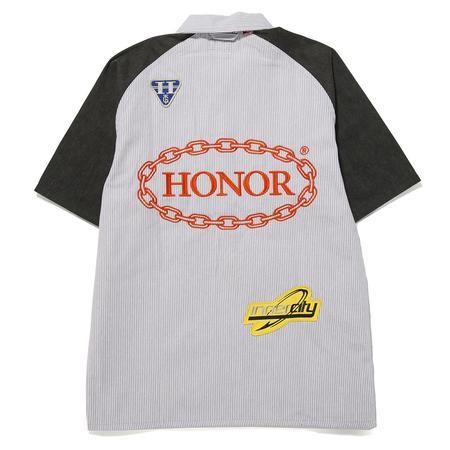 Honor The Gift Mechanic Uniform Top - Pinstripe Evergreen