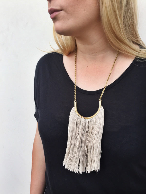 Erin Considine Brass Lunate Chain Necklace with Natural Flax