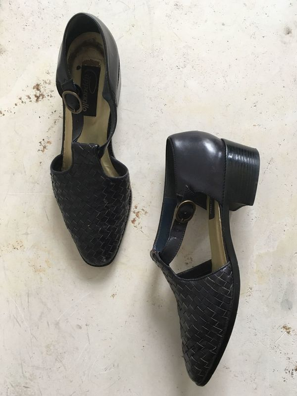 The Shudio Vintage Black Braided Leather Block Heeled Flats with strap (Sz 8.5)