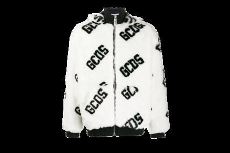 GCDS Logo Fur Coat - White