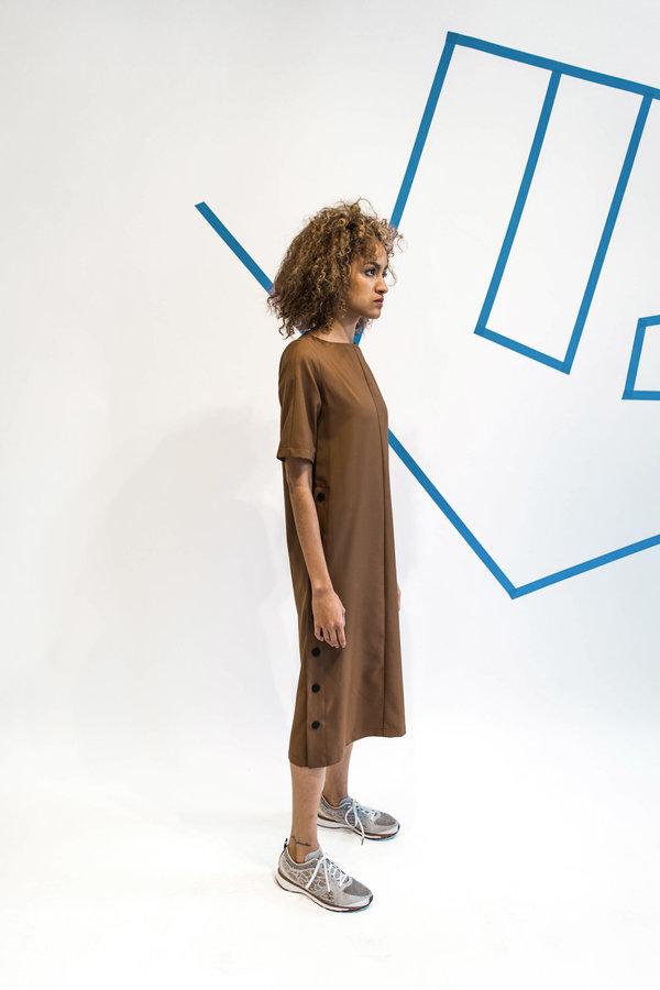 Wolcott : Takemoto Hamlet Dress - Silty Brown