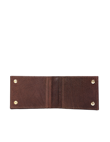 Ugo Cacciatori Leather Buttons Cardholder - Brown