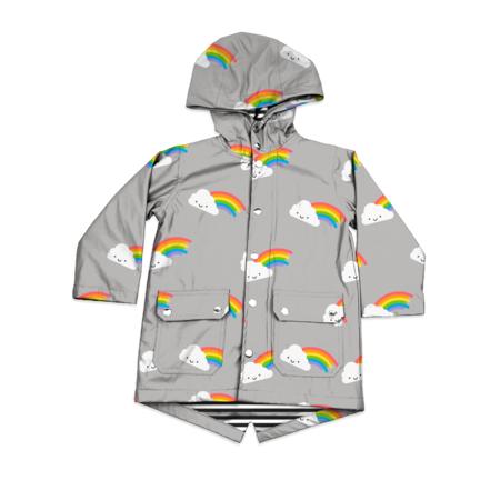 Kids WHISTLE & FLUTE Kawaii Rainbow Raincoat - Grey