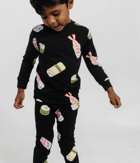 Kids WHISTLE & FLUTE Kawaii Sushi Pajama Set - Black