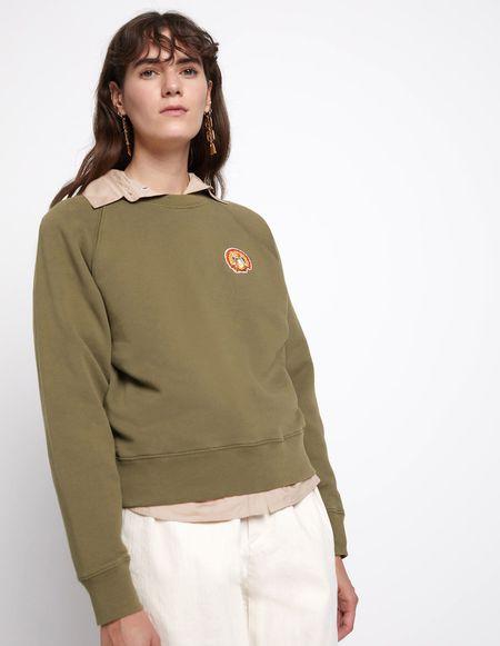 Kitsune Sweatshirt with Flower Fox Patch - Khaki