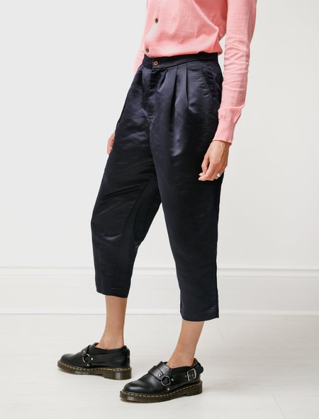 Comme des Garçons Thick Satin Pleated Trousers - Navy
