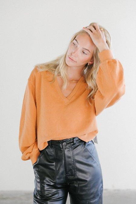 Agolde V-neck Balloon Sweatshirt - Umber