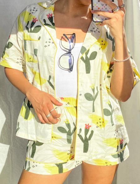 Love + Harmony Cactus Button Up Set - Yellow