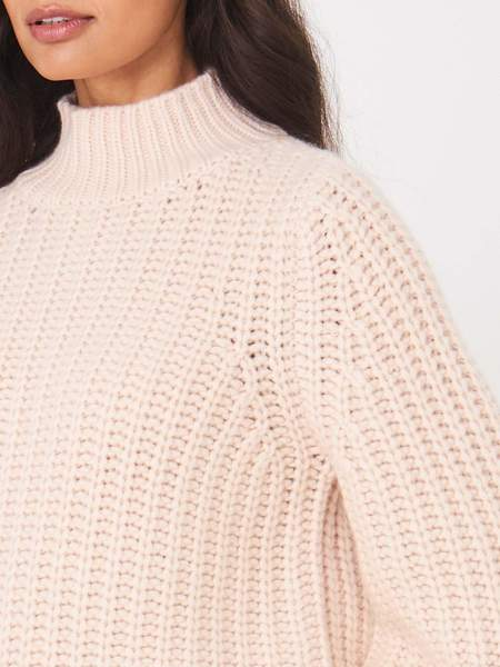 Repeat Cashmere Chunky Mock Neck Sweater - Powder