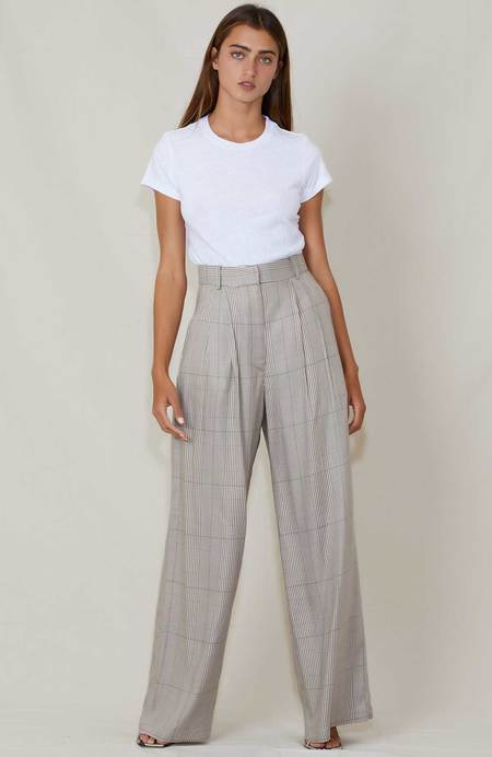 Shaina Mote Aya Plaid Trousers - Brown/White