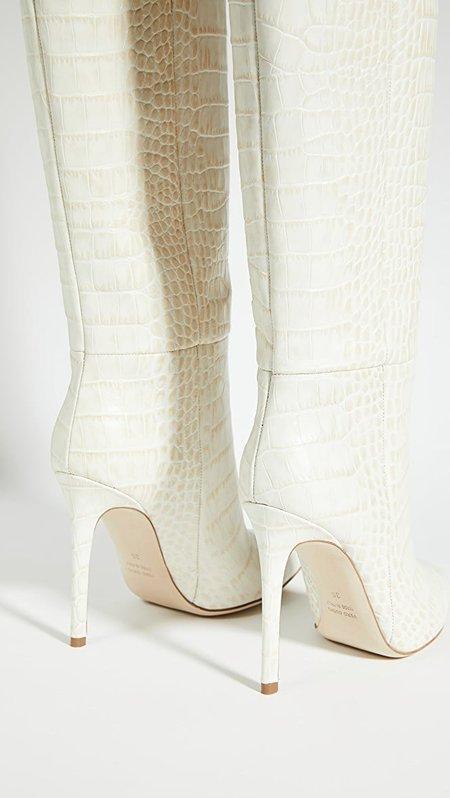 Paris Texas Moc Croc Tall Boots - IVORY 2699