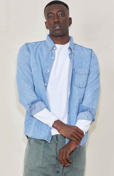 Remi Relief Natural Finish Denim Shirt - Used Blue