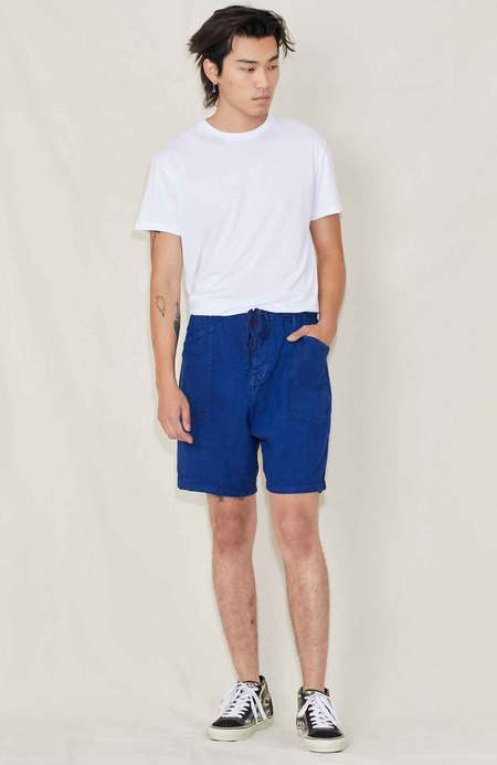 DR COLLECTORS Pigment Dyed Linen Shorts - SULFUR BLUE