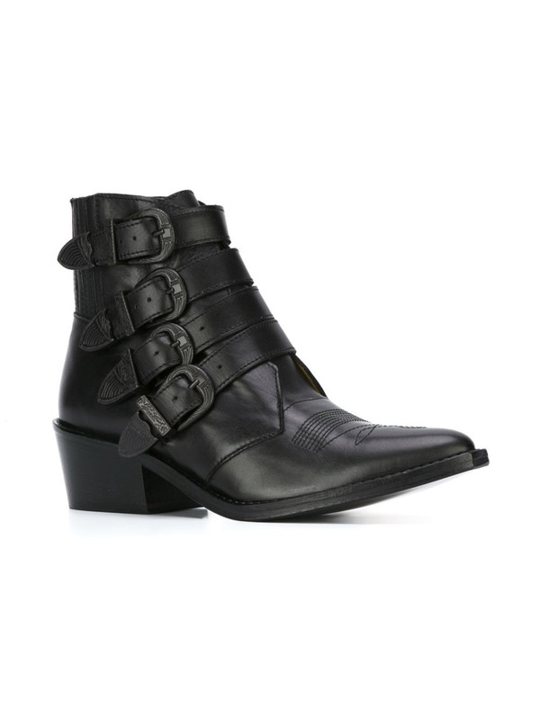 Toga Black Leather Buckle Boots