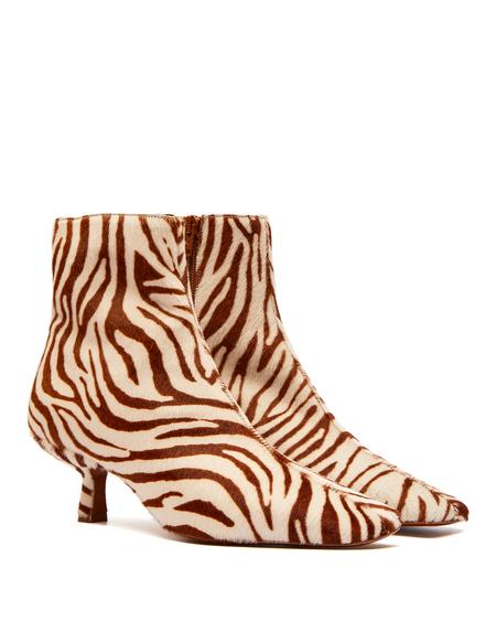 By FAR Zebra Print Boots - Brown/White