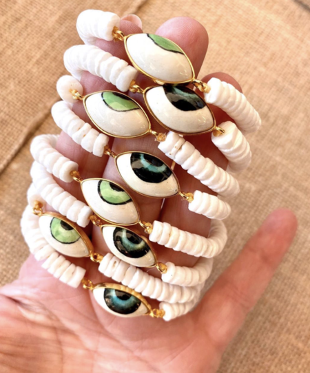 Wink Design Shell Evil Eye Bracelet - White