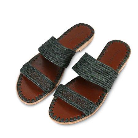 Proud Mary Footwear Raffia Two-Strap Slide - Forest