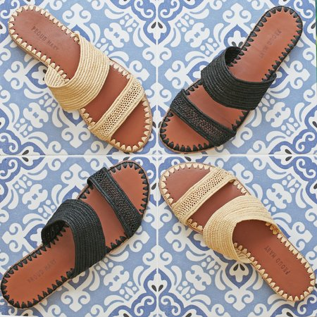 Proud Mary Footwear Raffia Two-Strap Slide - Natural